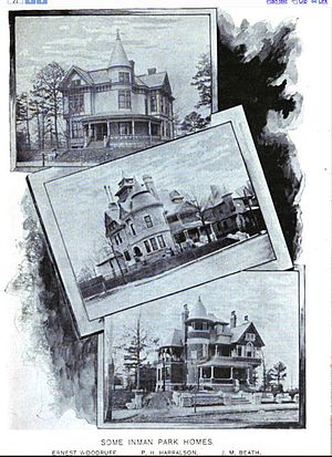 Beath–Dickey House - Sketches of three Inman Park houses, 1895; Ernest Woodruff's house at top; Beath–Dickey House at bottom