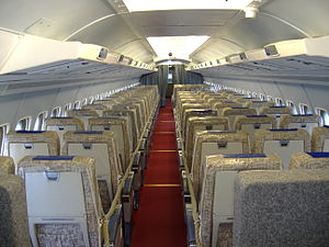 Convair 990 Coronado - Interior of a Convair 990 operated by Swissair now on public display in the Swiss Museum of Transport, the Verkehrshaus der Schweiz in Luzern.
