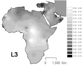 Haplogroup L3 (mtDNA) - Projected spatial distribution of haplogroup L3 in Africa and the Arabian peninsula.