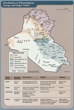 Sunni Triangle - A 2003 CIA Factbook map which shows the area mostly inhabited by Sunni Muslim Arabs in light orange.
