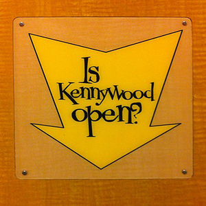 "Kennywood - A sign reading ""Is Kennywood Open?"" in a restroom at Eat'n Park near Pittsburgh Mills."