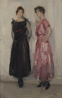 <i>Ippy and Gertie Posing at Fashion House Hirsch, Amsterdam</i> painting by Isaac Israëls