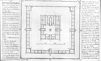 Isaac Newton's occult studies - Isaac Newton's diagram of part of the Temple of Solomon, taken from Plate 1 of The Chronology of Ancient Kingdoms Amended (published London, 1728)