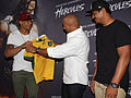 Israel Folau, Dwayne Johnson, Will Skelton (14271343027).jpg