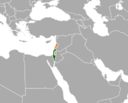 Map indicating locations of Israel and Lebanon