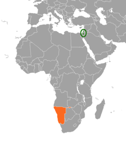 Map indicating locations of Israel and Namibia