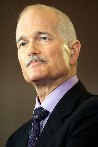 Jack Layton, former leader of the New Democratic Party from 2003 to 2011, led the party to become the second largest Canadian political party for the first time Jack Layton - 2011.jpg