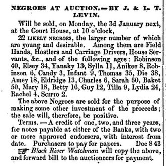 Jewish views on slavery - Advertisement for slave auction of slave trader Jacob Levin
