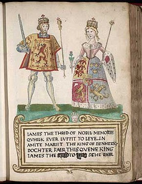 "A picture on a page in an old book. A man at left wears tights and a tunic with a lion rampant design and holds a sword and sceptre. A woman at right wears a dress with an heraldic design bordered with ermine and carries a thistle in one hand and a sceptre in the other. They stand on a green surface over a legend in Scots that begins ""James the Thrid of Nobil Memorie..."" (sic) and notes that he ""marrit the King of Denmark's dochter""."