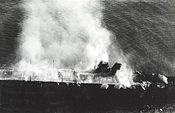 Japanese aircraft carrier Hiryu burning on 5 June 1942 (NH 73064)