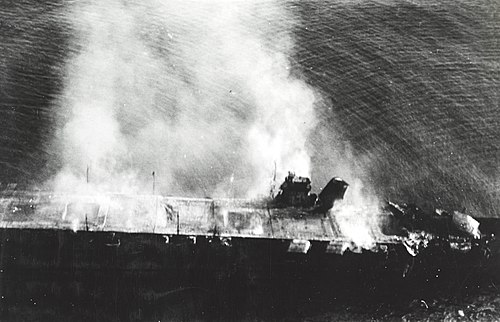 The Japanese carrier Hiryu burning after being attacked during the battle of Midway Japanese aircraft carrier Hiryu burning on 5 June 1942 (NH 73064).jpg