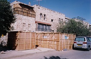 Sukkahs in Jerusalem.