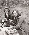 Jo Manning, holding brush, and Mary Ross circa 1947.jpg