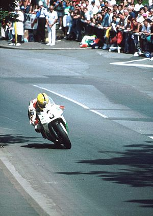 Honda VFR750R - Joey Dunlop coming down Bray Hill, Isle of Man in the 1992 Senior TT race, on his Honda RC30.
