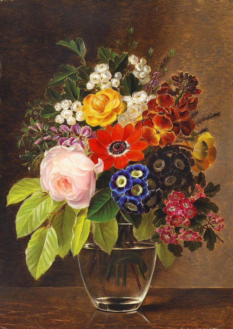 Johan Laurentz Jensen - Blomster og bøgegren i en glasvase.png