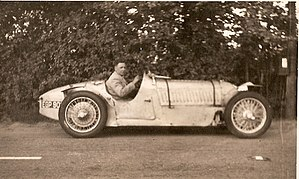 Alta Car and Engineering Company - Race car designer John Crosthwaite in his 1937 1100cc Alta