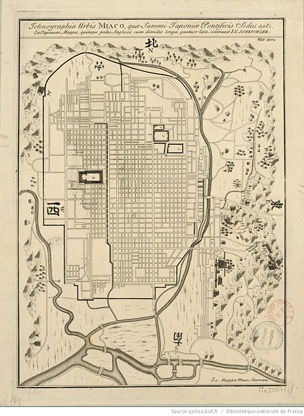 "18th-century European town map of ""Miaco"" John Gaspar Scheuchzer - Ichnographia urbis Miaco - Historical map of Kyoto - 18th century.jpg"