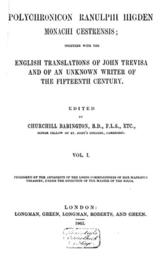 John Trevisa - Polychronicon Ranulphi Higdin, Monachi Cestrensis, 1865