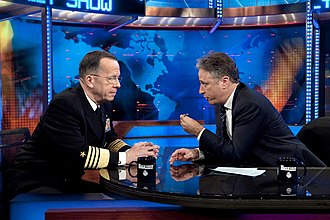 The Daily Show - Jon Stewart (right) hosting an episode of The Daily Show in 2010 with Admiral Michael Mullen