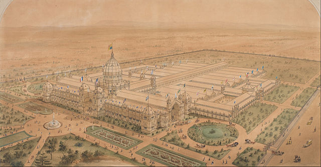 Joseph Reed - The Exhibition Building Melbourne 1880, from the South East Showing the Main Hall