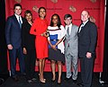 Josh Elliott, Sally-Ann Roberts, Robin Roberts, Karen Leo, George Stephanopoulos, and Tom Cibrowski, May 2013.jpg