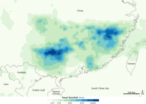 2010 China floods - Total rainfall in southern China, June 15–21