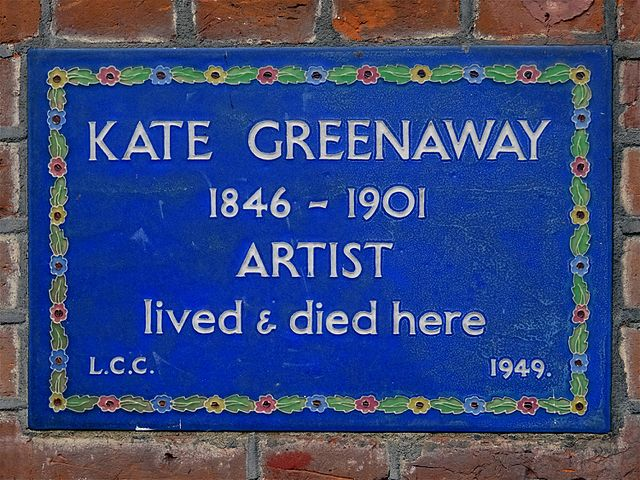 Kate Greenaway blue plaque - Kate Greenaway   1846-1901   artist   lived & died here