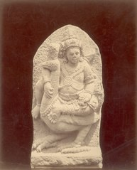 KITLV 87814 - Isidore van Kinsbergen - Sculpture of Kartikeya with Kuwera come from Yogyakarta, moved to the Museum of the Batavian Society of Arts and Sciences in Batavia - Before 1900.tif