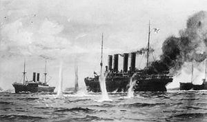 Sinking of SS Kaiser Wilhelm der Grosse - Image: Kaiser Wilhelm der Grosse fight painting 1914