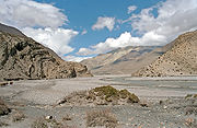 The arid and barren Himalayan landscape.