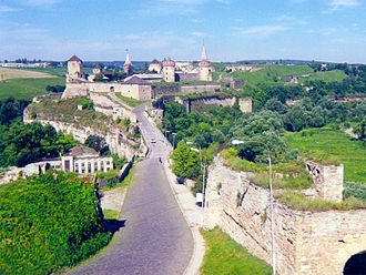 "Khmelnytskyi Oblast - The Kamianets-Podilskyi Castle. The bastion on the right was guarding the bridgehead leading to the fortress. In the far right the ""New Castle"" is visible."