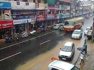 Kanjirappally Town in Kerala, India