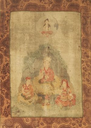 Chöying Dorje, 10th Karmapa - Actual self-portrait of painted thangka between 1648 and 1671 by the 10th Karmapa himself, while in Gyalthang, Tibet. On the Karmapa's right is Kunto Zangpo (the Karmapa's faithful attendant) and on the left is the Sixth Gyaltsab Norbu Zangpo. Chenrezig is at the top.