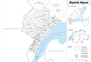 Nyon District - Image: Karte Bezirk Nyon 2008