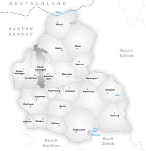 Oberweningen - Image: Karte Gemeinde Oberweningen