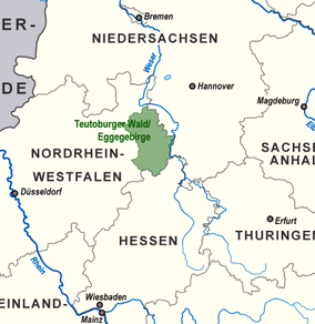 Map showing the location of Teutoburg ForestTeutoburger Wald