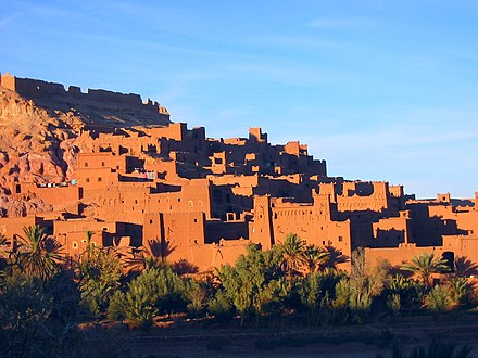 The Kasbah of Aït Benhaddou, built by the Berbers from the 14th century onwards. Kasbahs in Aït Benhaddou.JPG