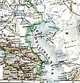 Kaspisches Meer um 1907. Ausschnitt aus Karte Europäisches Russland, Meyers Großes Konversations-Lexikon, Bad. 17, LeipzigWien 1907, nach S. 288.jpg