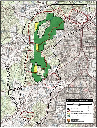 Battle of Kennesaw Mountain - Map of Kennesaw Mountain Battlefield core and study areas by the American Battlefield Protection Program.