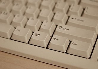 "Any key - A picture of a keyboard which has been photo manipulated to include an ""ANY"" key."