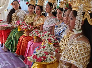 Cambodian New Year - Young women at a Khmer New Year celebration in Lithonia, Georgia, US, 2010.