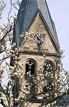 Kirche St. Mauritius Kärlich - Glockenturm um 1975.jpg