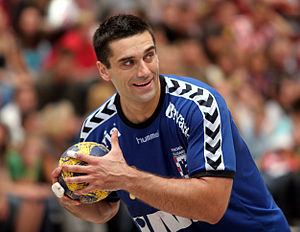 Kiril Lazarov, Macedonian handball player, playing for RK Zagreb, on August 22nd, 2009 in Ehingen (Germany), during the Schlecker Cup 2009.