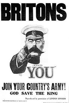 Lord Kitchener recruiting poster, for the British army during World War I.