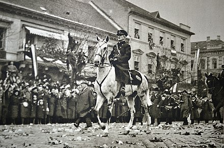 Admiral Horthy during the Hungarians' triumphant entry into Kosice, November 1938 Kosice 11. november 1938.jpg