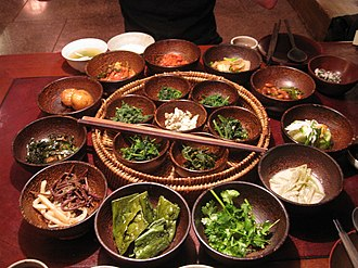 Vegetarianism by country - Buddhist influenced Korean vegetarian side dishes.