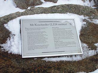 Paweł Strzelecki - A commemorative plaque devoted to Strzelecki on the summit of Mount Kosciuszko, the highest mountain in Australia