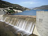 Kouris Dam - overflow day 8 April 2012.jpg