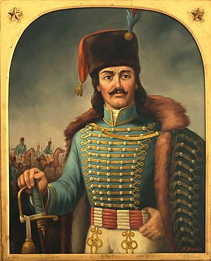 Atilla (clothing) - Founder of the American cavalry: Michael Kovats, wearing an atilla.