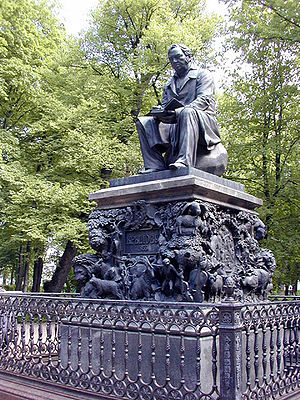 Ivan Krylov - Monument to Ivan Krylov in the Summer Garden (1854–55), by Peter Klodt von Urgensburg